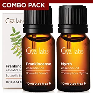 Gya Labs Frankincense & Myrrh Essential Oil Combo Pack – 100% Pure Therapeutic Grade Frankincense and Myrrh Oil