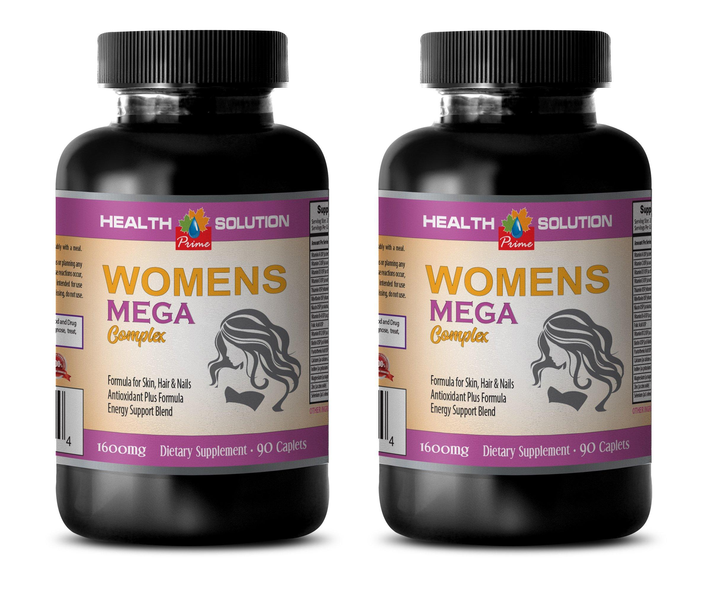 energy booster pills for women - WOMEN'S MEGA COMPLEX 1600 MG - grape seed extract for skin - 2 Bottles 180 Caplets