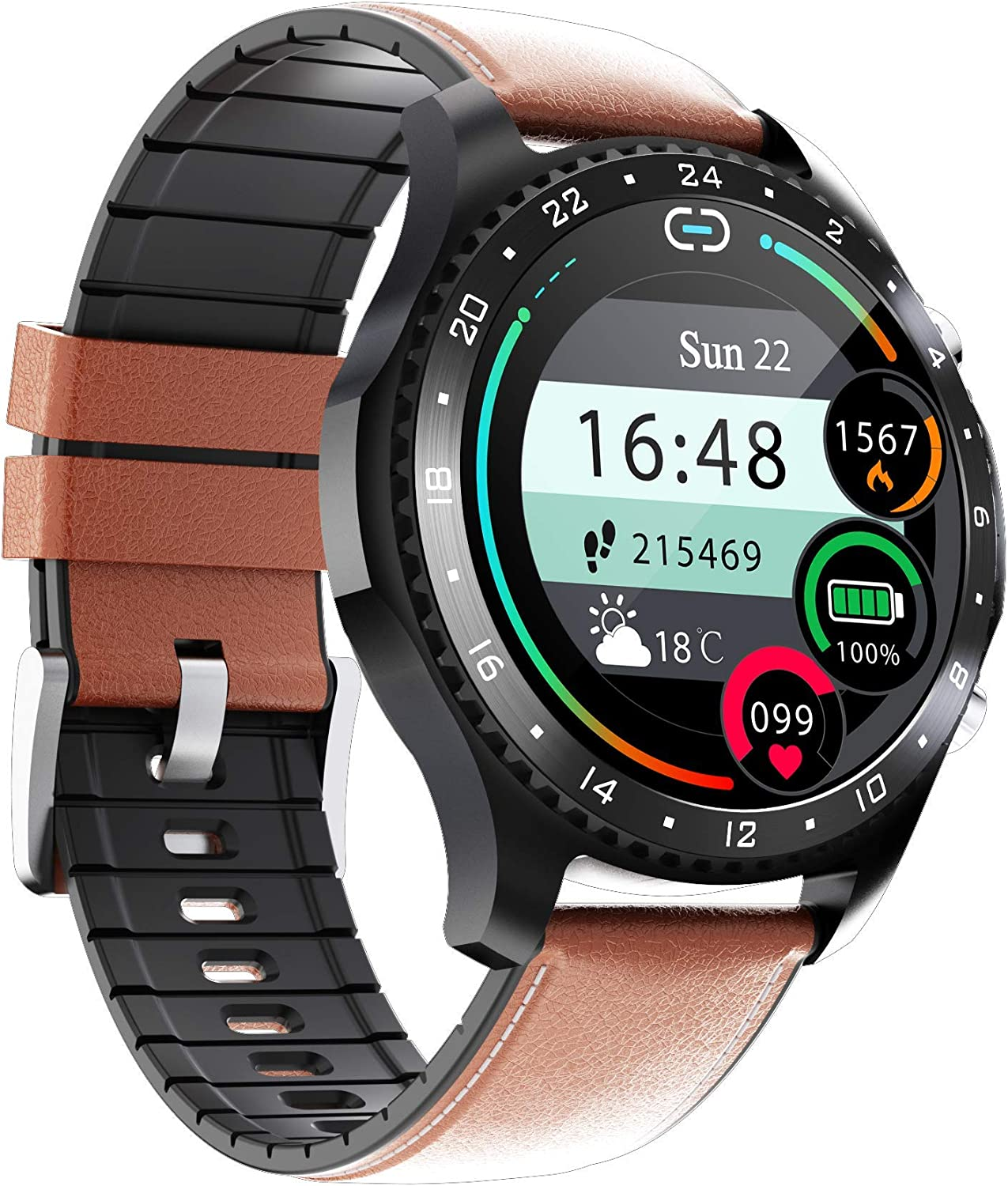 SPOREX Series 2021 Bluetooth Music Smart Watch for Android Phones & iPhone with Music Control; Fitness Tracker; Blood Pressure & Heart Rate Monitor; Oxygen Meter; Sport Rugged Touchscreen Smartwatch