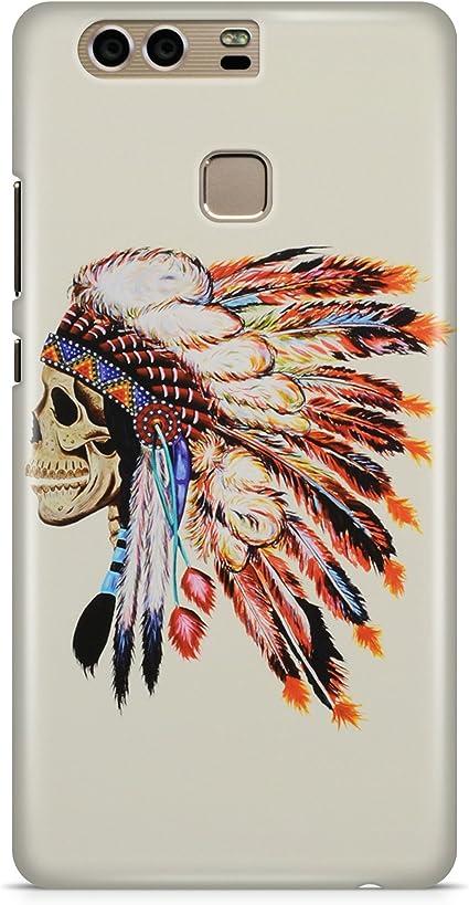 Cover Custodia Teschio Indiano Grand Chief Piume Pelle Rossa Skull ...