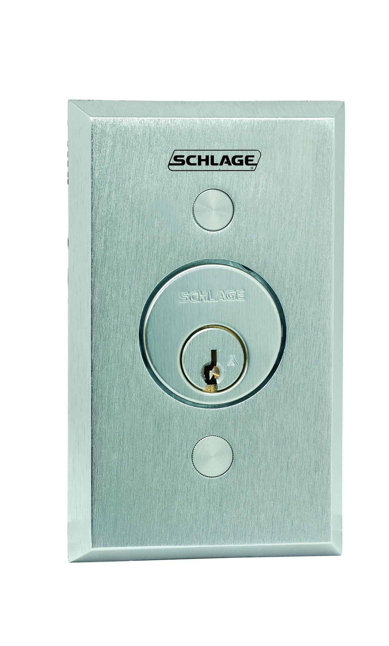 Schlage Electronics 653-04 Keyswitch, SPDT Maintained Single Direction, Satin Chrome Finish
