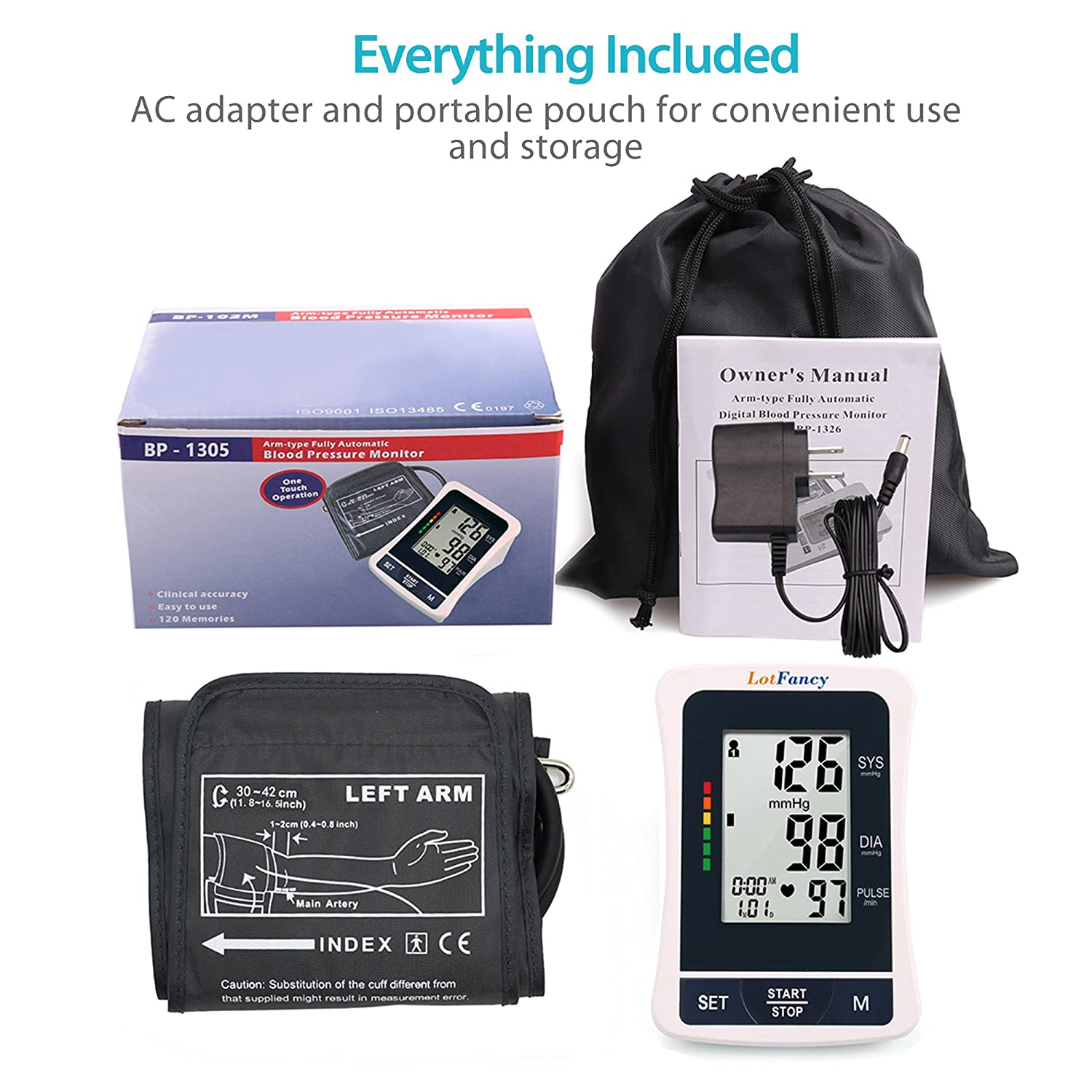 blood pressure monitor with bp cuff and ac adapter