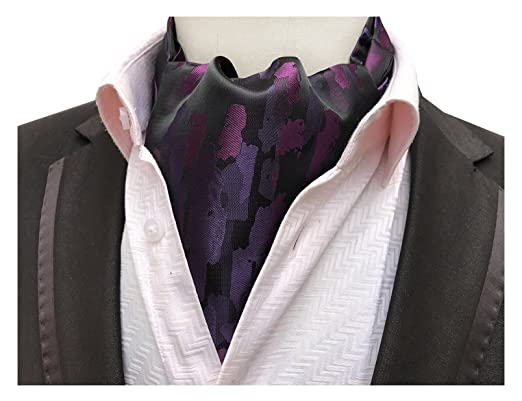 Elfeves Men s Purple Black Geometric 100% Silk Cravat Ties Ascot Comfort  Gift 4f853a1b5c5