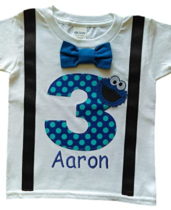 5f120b2084104 3rd Birthday Shirt Boys Cookie Monster Tee - Personalized (2T Long Sleeve)  Blue-