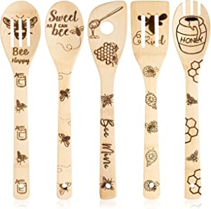 Eartim 5Pcs Bee Wooden Spoons Spatula Set, Bee Themed Cooking Utensils Non-Stick Carve Spoons Burned Bamboo Cookware Kitchen Gadget Kit Housewarming Gift Chef Present Funny Kitchen Decor