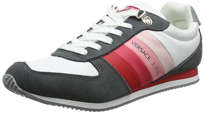 Versace Jeans EE0YRBSA1_E70013, Zapatillas para Hombre, Multicolor (Bianco Ottico/Rosso Emhr), 44 EU