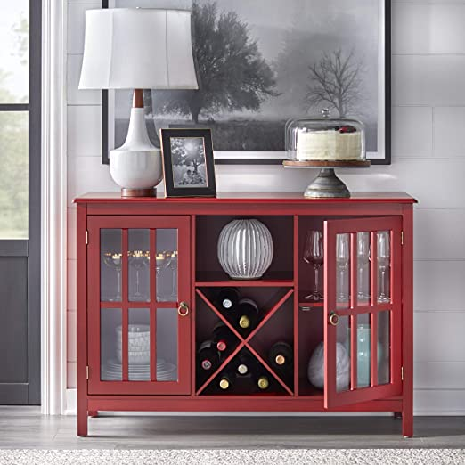 Target Marketing Systems Portland Collection Wine Buffet With Two Cabinets One Shelf And 4 Bottle Wine Rack Red Amazon Ca Home Kitchen