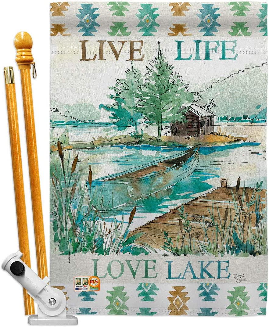 Amazon Com Breeze Decor Lodge Live Life Lake House Flag Set Outdoor Rustic Cabin Moose Wildlife Adventure Forest Small Decorative Gift Yard Banner Made In Usa 28 X 40 Garden Outdoor