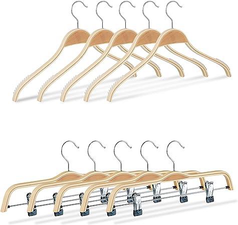 10 x Kleiderbügel Holz Hemdenbügel Anzugbügel Holzbügel Bügelset rutschfest