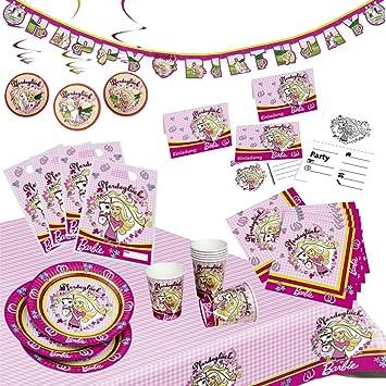 Set di tovaglioli Decorativi Set da 29 Pezzi tovaglia tovaglioli MattelBarbie Ballerina Bicchieri Piatti Grandi tovaglia per 8 Bambini Piatti