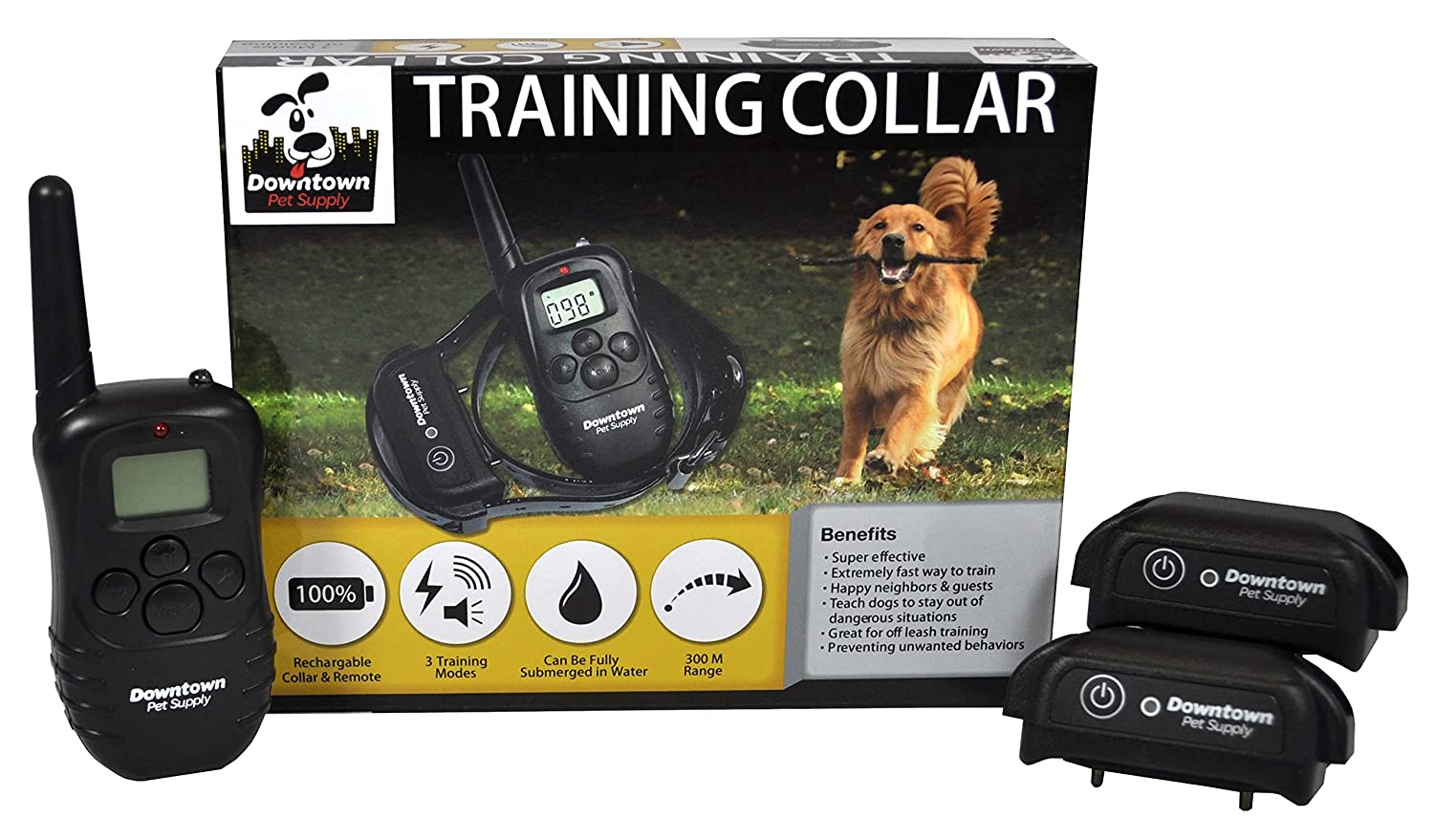 One Rechargeable Remote Controlled Dog Training Collar, with Vibration, Shock & Tone Settings.  Waterproof, Submersible, Safe for Behavior, No Jump, No Bark, Sport, Obedience, & Hunting Training with Remote Management up to 900+ feet, By Downtown Pet Supp