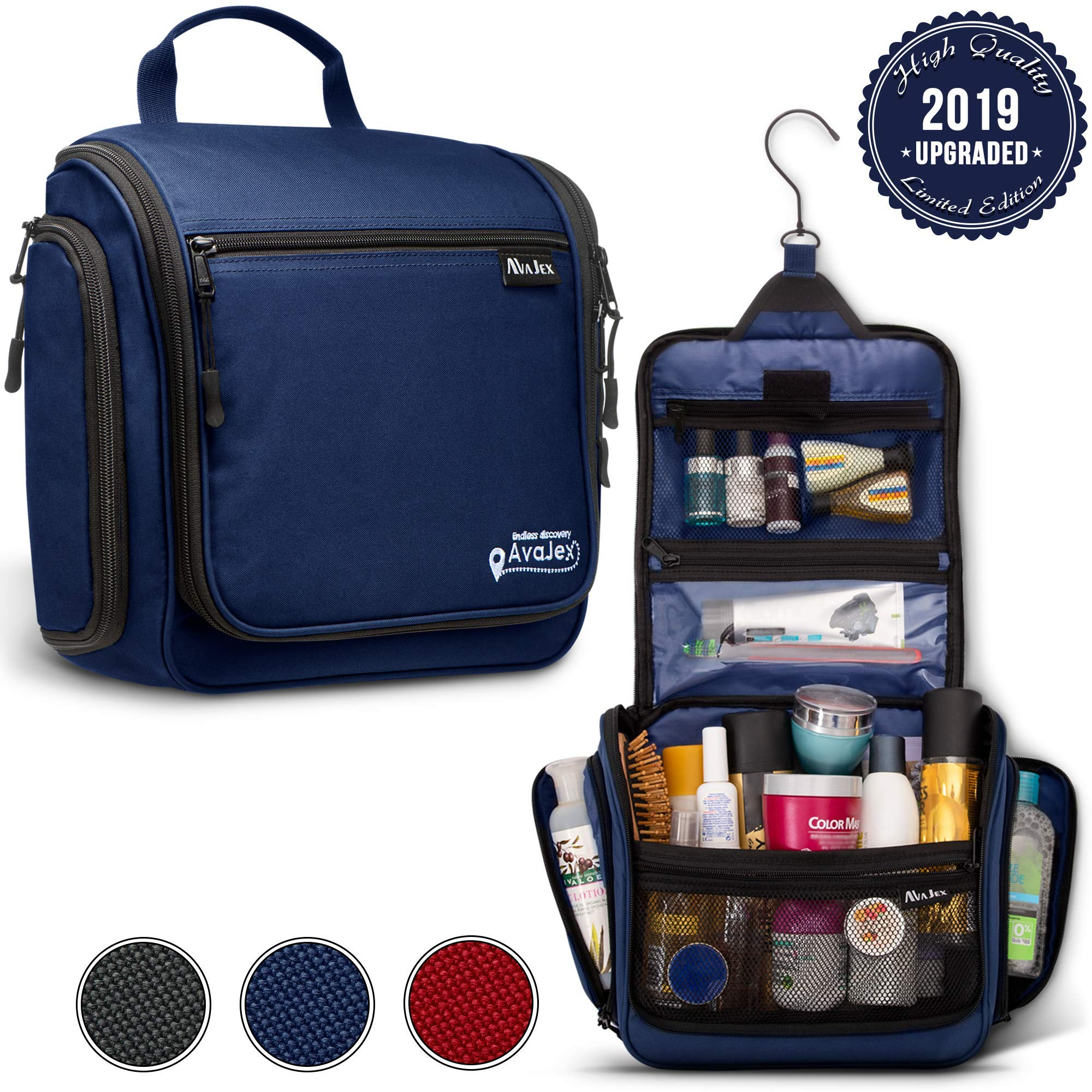 Premium Hanging Travel Toiletry Bag for Men and Women - Large Toiletry Organizer - Waterproof Hygiene Bag with Metal Swivel Hook, Durable Zippers and Large Capacity for Toiletries, Makeup, Cosmetics by AvaJex