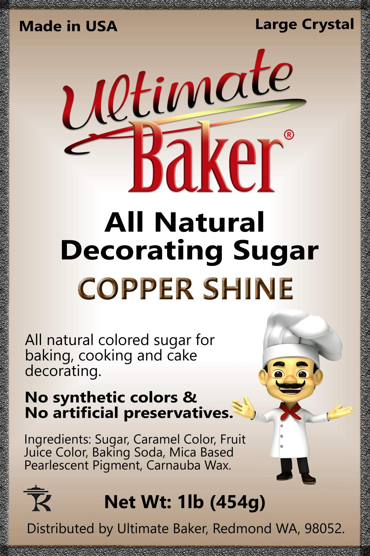 Ultimate Baker Copper Decorating Sugar - Kosher Certified Natural Large Crystal Decorating Sugar (1lb Bag Copper Color Sugar) by Ultimate Baker (Image #5)