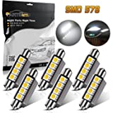 Partsam 42mm Festoon LED Light Bulbs Error Free LED Interior Lights Map Dome Lights Bulbs 211-2 578 569 Festoon LED Bulb - White (6 Pcs)