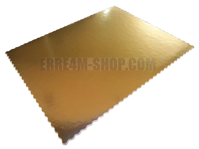 Rettangolo sottotorta in cartone festonato dimensioni 36x46 cm oro/nero 3 PEZZI Erretre srl