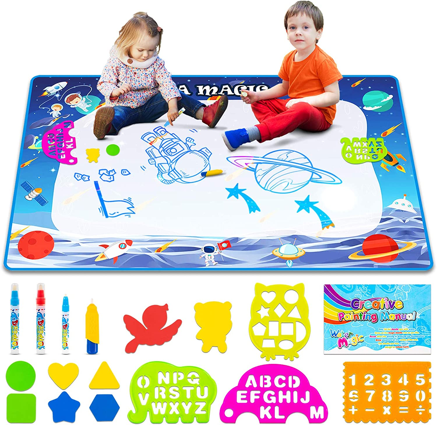 Non-Toxic Non-Messy Water Drawing Mat Toddler Educational Learning Gift Toys for 1 2 3 4 5 6 Year Old Boys Girls Space Theme X-Large 47 x 31 Aqua Magic Doodle Mat for Kids Water Doodle Mat