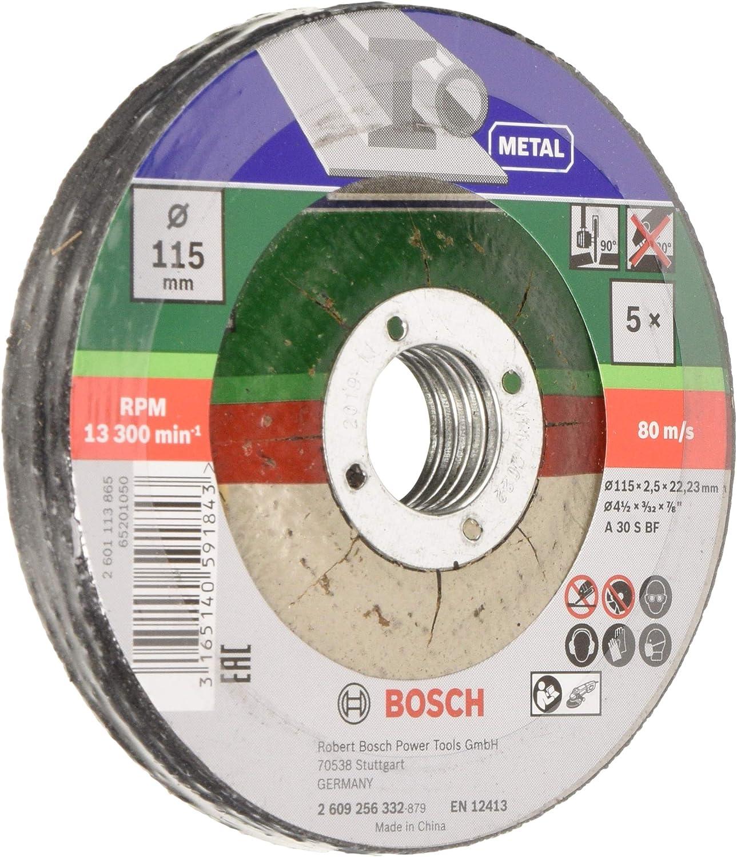 Bosch 2 609 256 332 - Juego de 5 discos de tronzar, acodado para metal