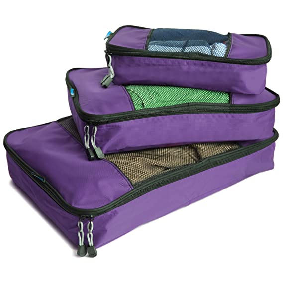 TravelWise Packing Cubes - 3 Piece Set (Purple)
