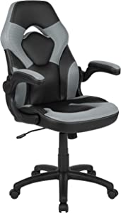 Flash Furniture X10 Gaming Chair Racing Office Ergonomic Computer PC Adjustable Swivel Chair with Flip-up Arms, Gray/Black LeatherSoft, BIFMA Certified