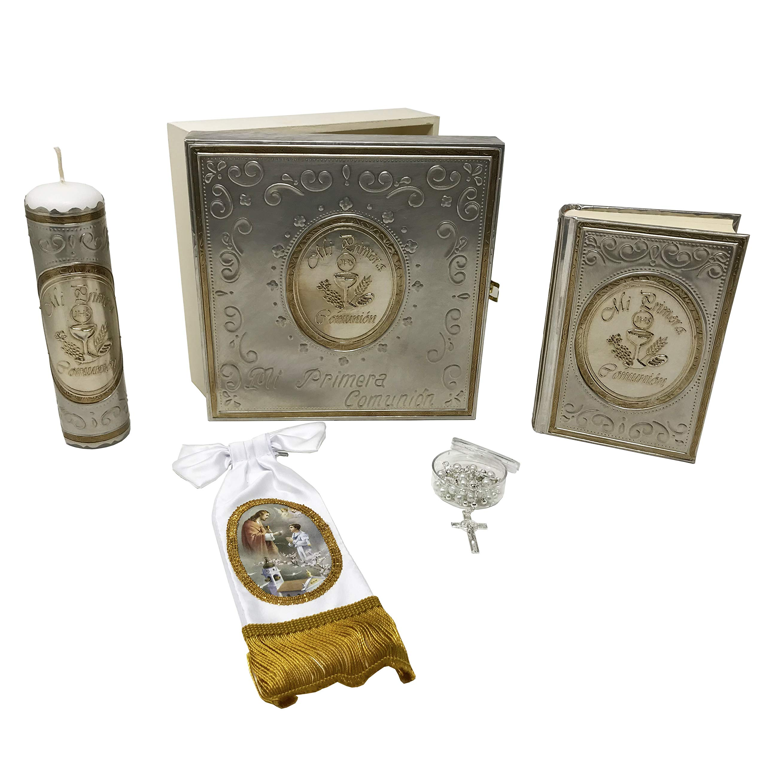 PREMIUM Catholic First Communion Kit in a Repujado Box with Candle, Rosary, Bible (Spanish) and Arm Bow Bracelet for Boys. Handmade in Mexico Gift for Godparents. Kit de Primera Comunión.