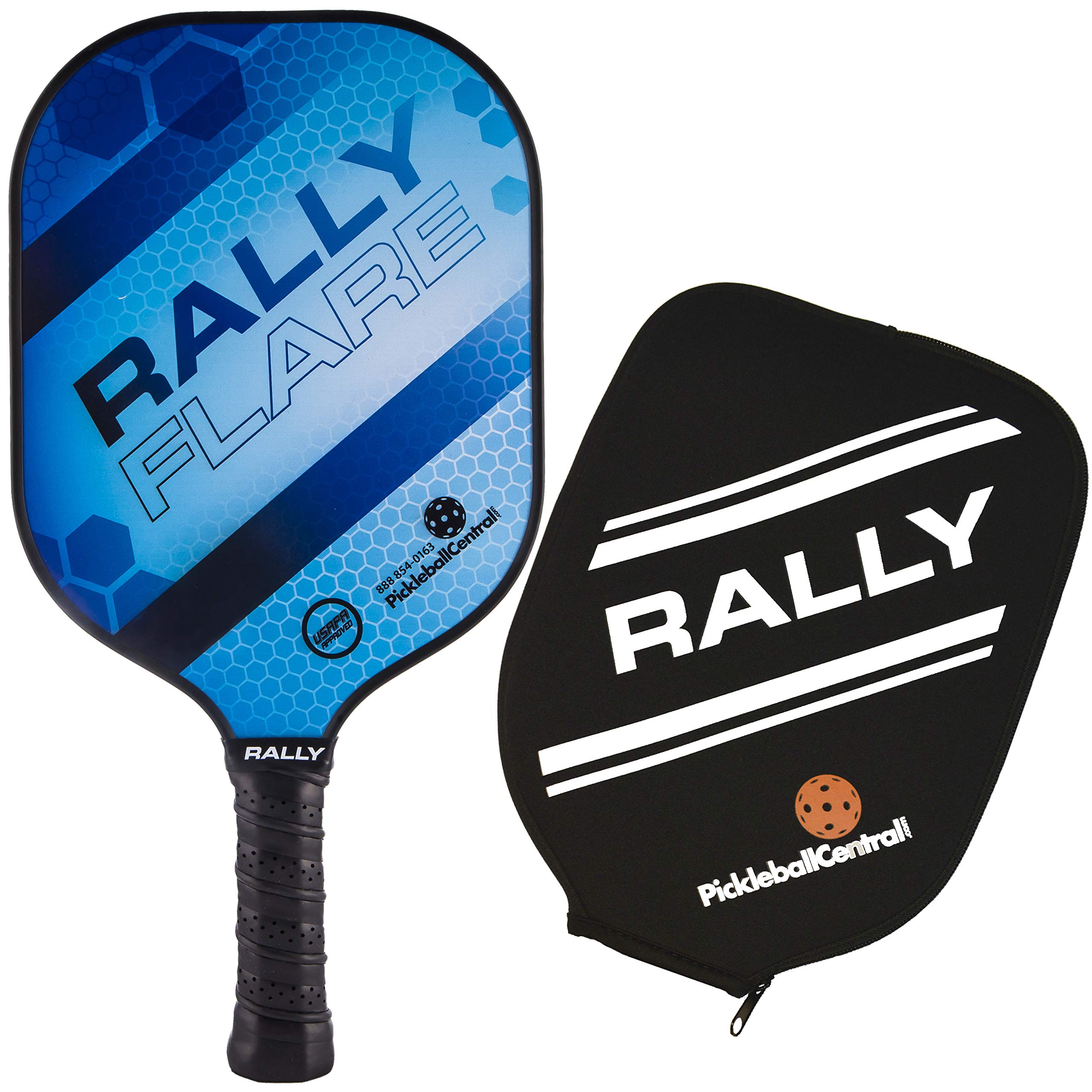 Rally Flare Graphite Pickleball Paddle - Blue | Polymer Honeycomb Core, Graphite Face | Lightweight | Paddle Cover Included in Bundle | USAPA Approved by PickleballCentral