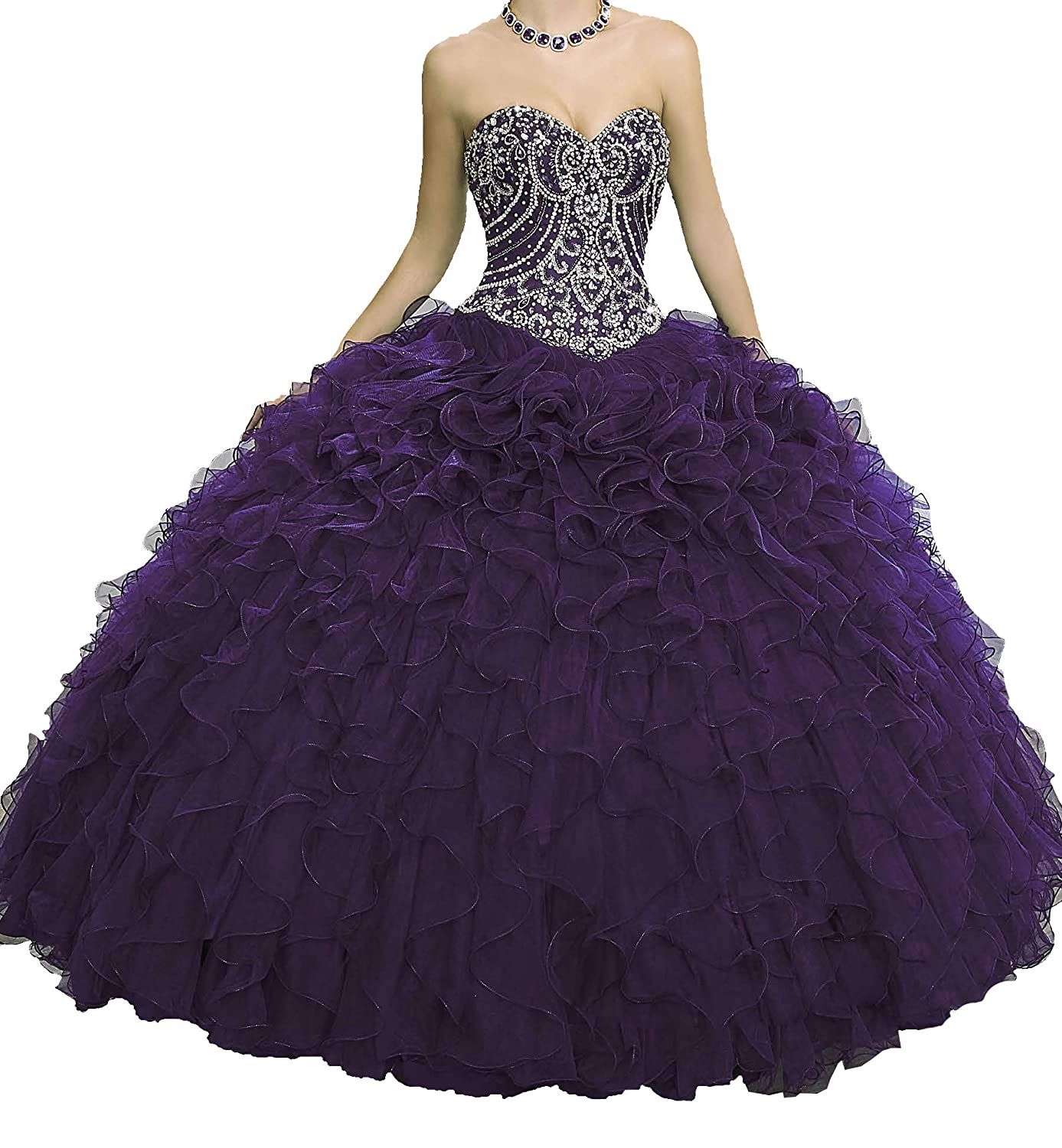 Dark Purple Yang Women Sweetheart Quinceanera Dress Floor Length Girls Ball Gowns