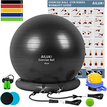 AILUKI Yoga Ball, Exercise Ball Fitness Balls Stability Ball Anti-Slip & Anti- Burst for Yoga,Pilates, Birthing, Balance & Fitness with Workout Guide ...