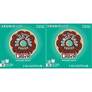 The Original Donut Shop Dark Keurig Single-Serve K-Cup Pods, Dark Roast Coffee, 18 Count - Pack of 2