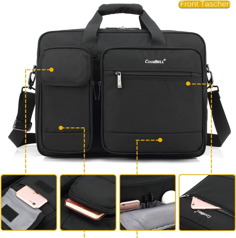 CoolBell 15.6 Inch Laptop Tasche Aktentasche Herren sch/ützend Messenger Bag Umh/ängetasche Notebook Schultertasche Multifunktional Henkeltasche Laptoptasche f/ür 15-15,6 Zoll MacBook,Canvas Dunkel Grau