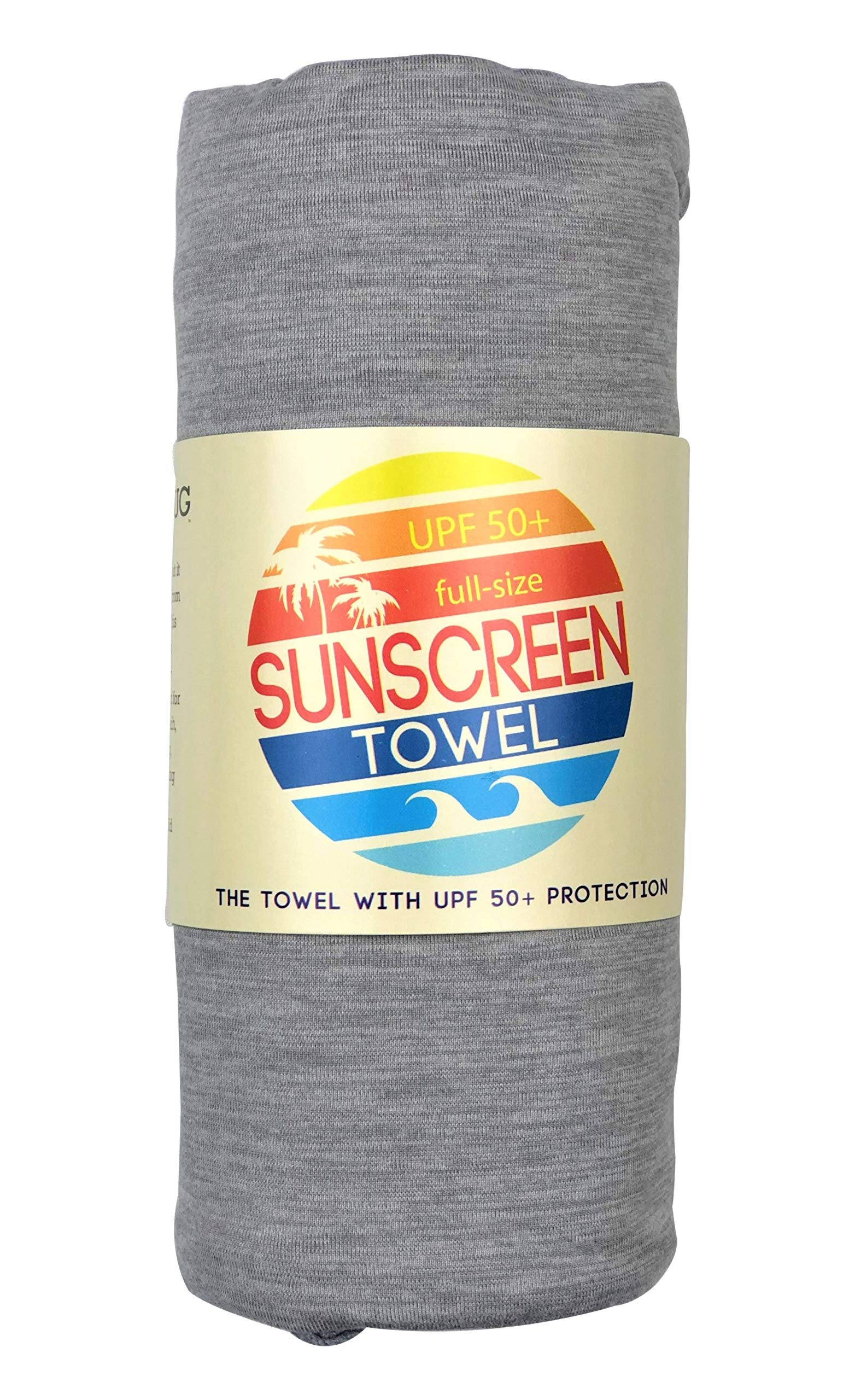 Luv Bug Company UPF 50+ Sunscreen Towel Full Size (Gray Heather) by Luv Bug