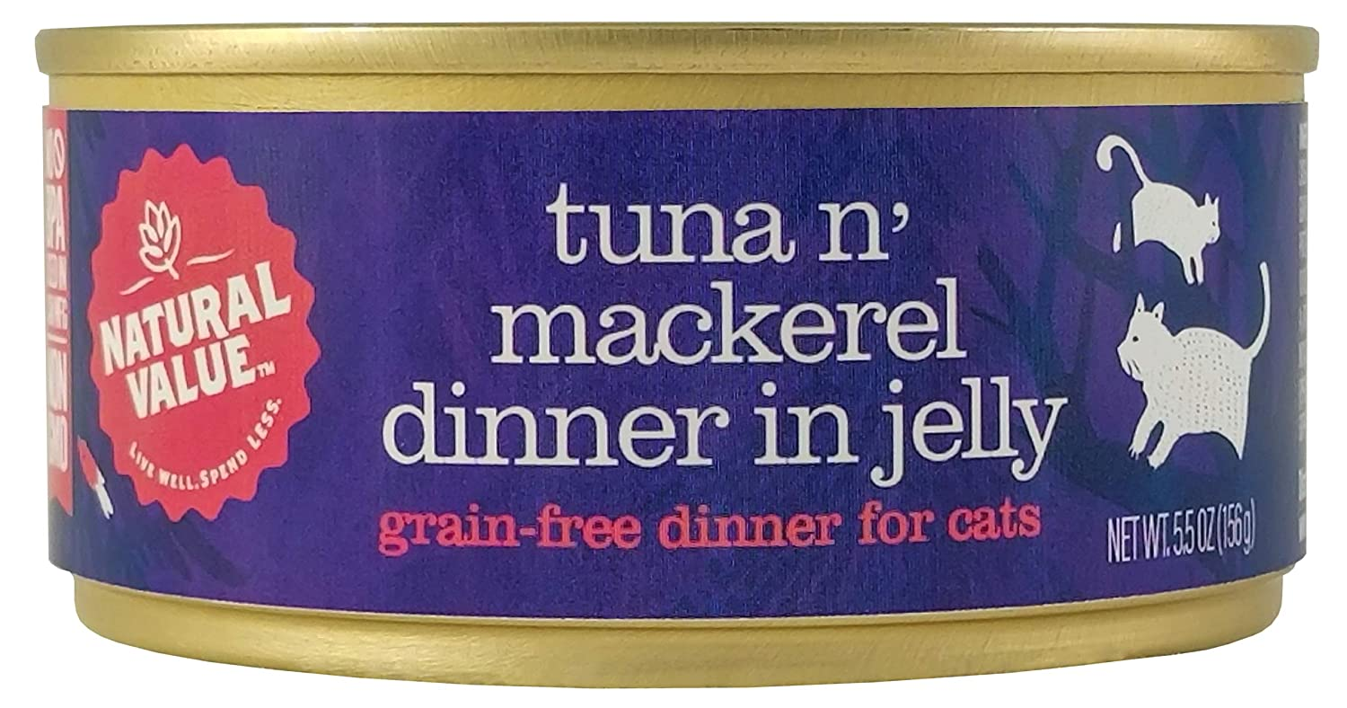 Natural Value Cat Food Tuna 'N' Toppings with Mackerel (Grain Free), 5oz (Pack Of 24)