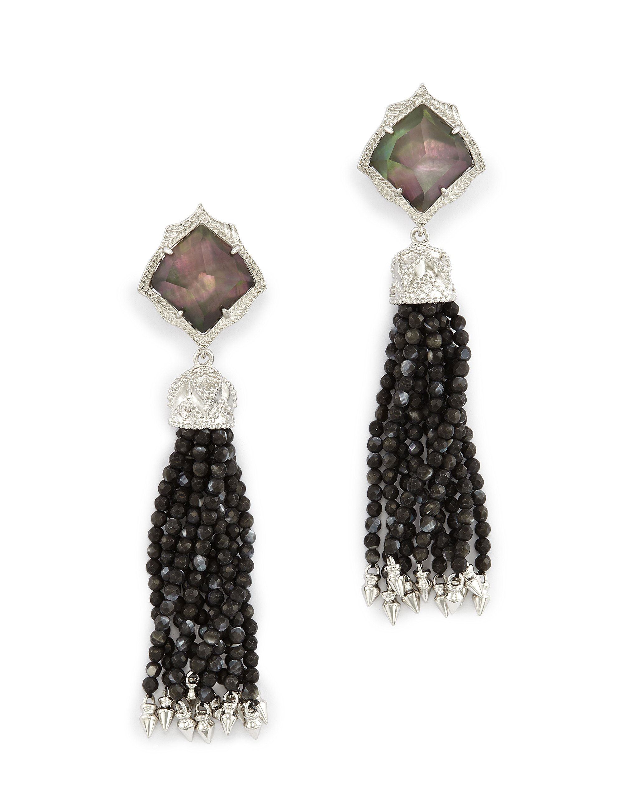 Kendra Scott Misha Clip On Earrings in Rhodium Plated Black Mother of Pearl