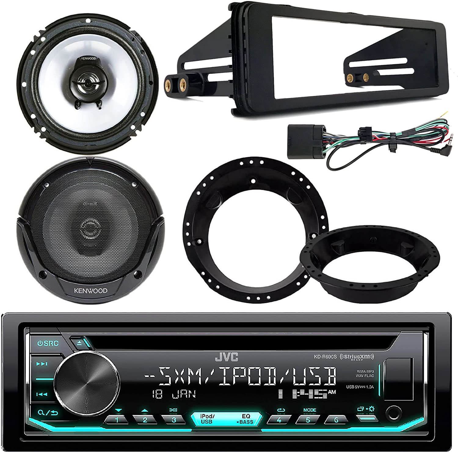 Bundle Combo with 2X Kenwood 6.5 Inch Black Coaxial Speakers W//Adapter Brackets JVC KDR690S CD Stereo Audio Receiver Radio Dash Kit for 1998-2013 Harley Motorcycle Bikes