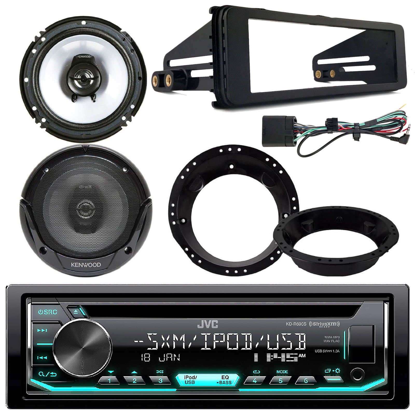 JVC KDR690S CD Stereo Audio Receiver - Bundle Combo with 2X Kenwood 6.5'' Inch Black Coaxial Speakers W/Adapter Brackets + Radio Dash Kit for 1998-2013 Harley Motorcycle Bikes by EnrockAudioBundle