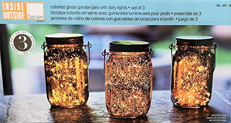 Outside Inside Garden Colored Glass Garden Jars With Fairy Lights   Set Of 3