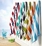 Great Bay Home 100% Cotton Plush Cabana Stripe Oversize Velour Beach Towel (40x70) Brand. (Teal)