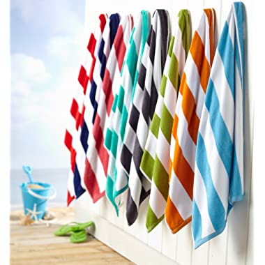 Great Bay Home 100% Cotton Plush Cabana Stripe Oversize Velour Beach Towel (40x70) Brand. (Teal)