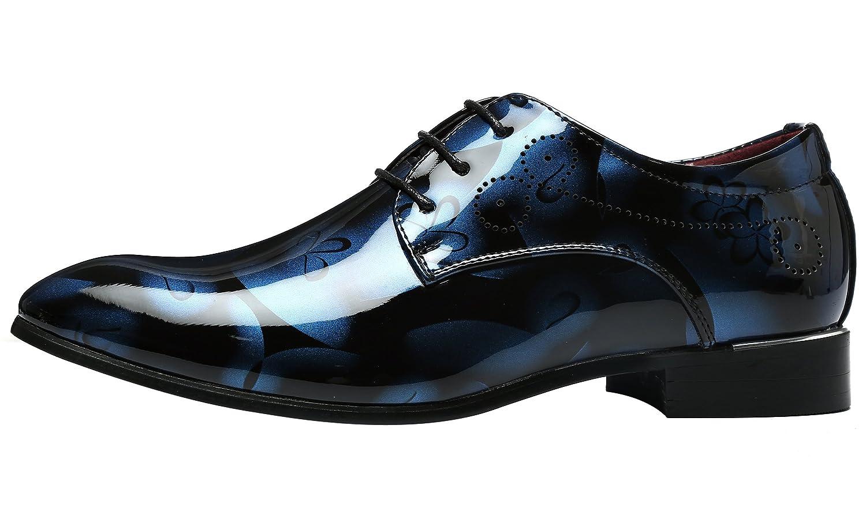 Schnürhalbschuh Lackleder Schuhe Herren Derby Klassischer Rahmengenähter mit Oxford Schnürung Blau 45 EU jbUm8OI