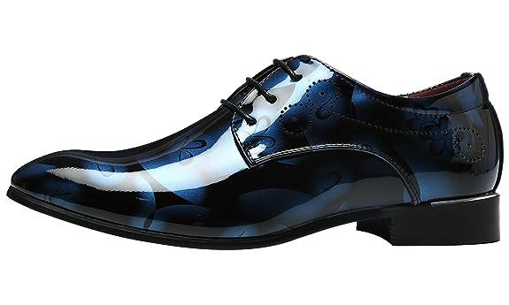 Schuhe Herren Derby Rahmengenähter Schnürhalbschuh Lackleder Oxford Schnürung Modische schuhe Männer Grau 47 EU UGlMTAb