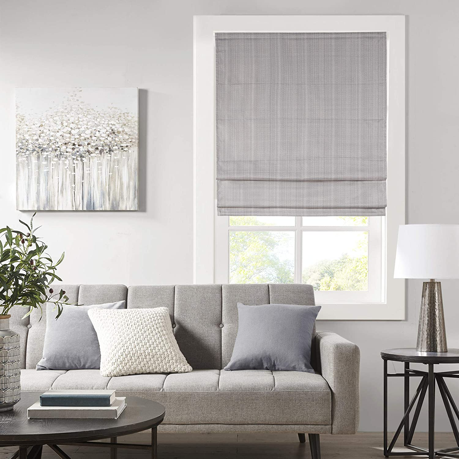 "Madison Park Galen Cordless Roman Shades - Fabric Privacy Panel Darkening, Energy Efficient, Thermal Insulated Window Blind Treatment, for Bedroom, Living Room Decor, 33"" x 64"", Grey"