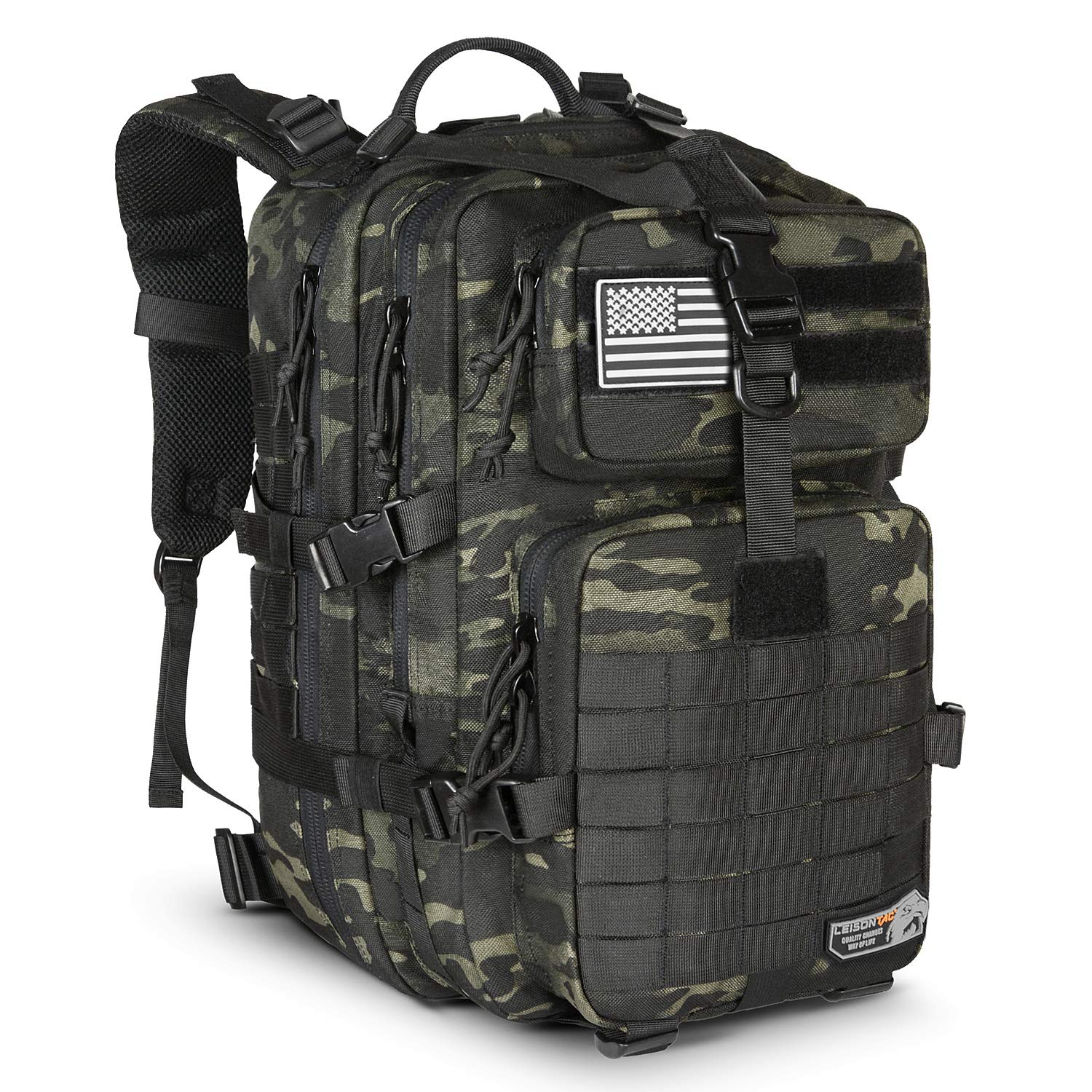 LeisonTac Tactical Backpack Military ISO Standard for Hunting Hiking Travel & Camping   Heavy Duty Nylon Stitching Water Resistant Small Rucksack with Hydration Bladder Compartment (Black Multicam)