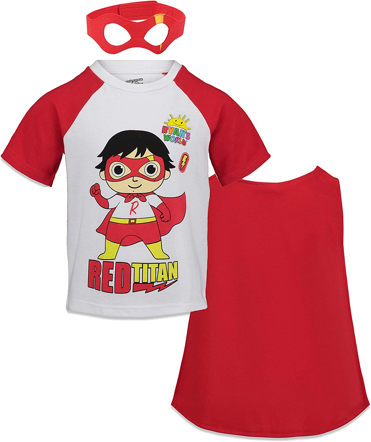 Ryan's World Red Titan Toddler Boys Superhero T-Shirt with Cape and Mask 5T: Clothing