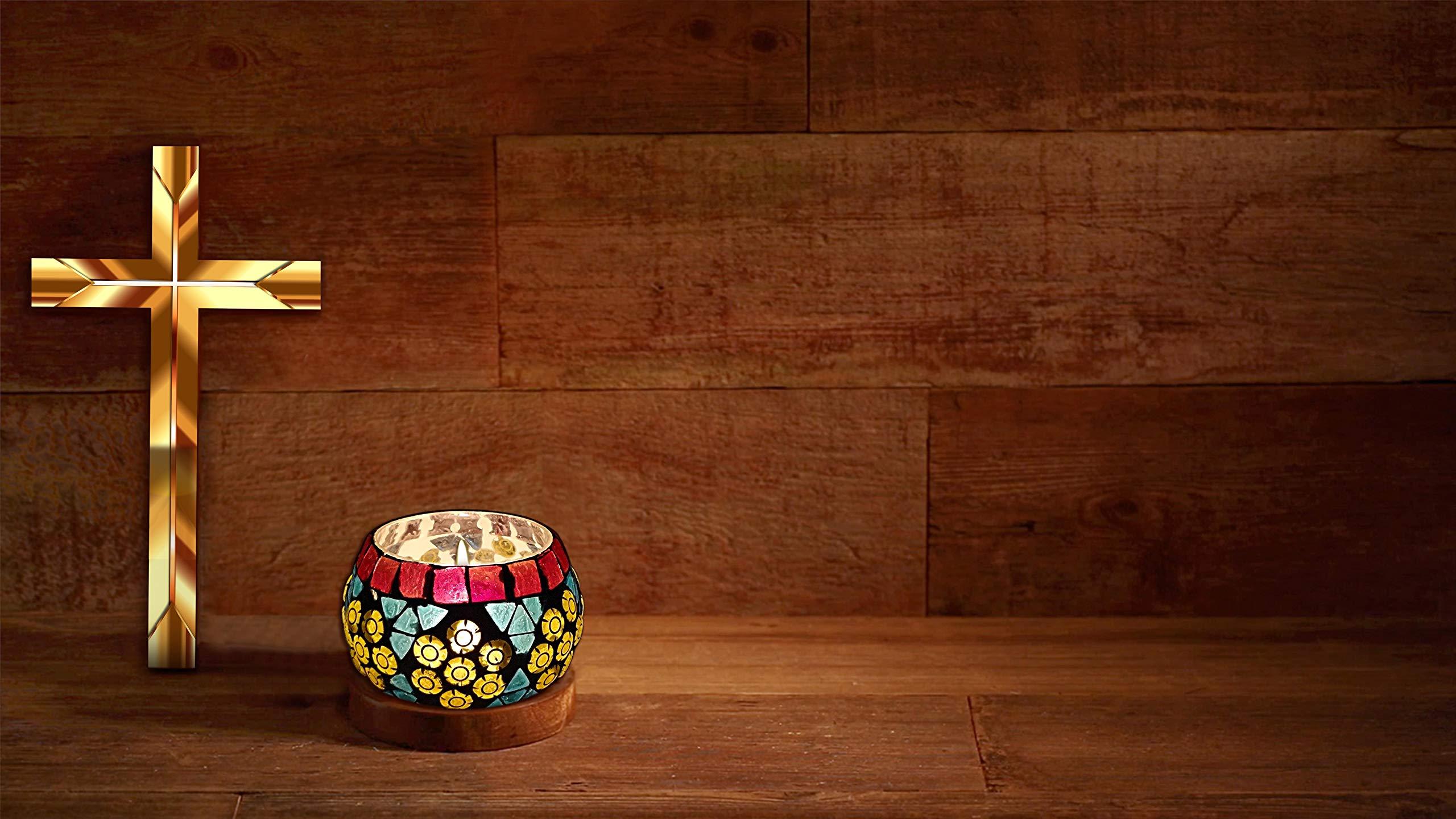 Hare Krishna Lighting Decorative Mosaic Glass Round Table Candle Holder Tea Light (Multi) 3 Inch