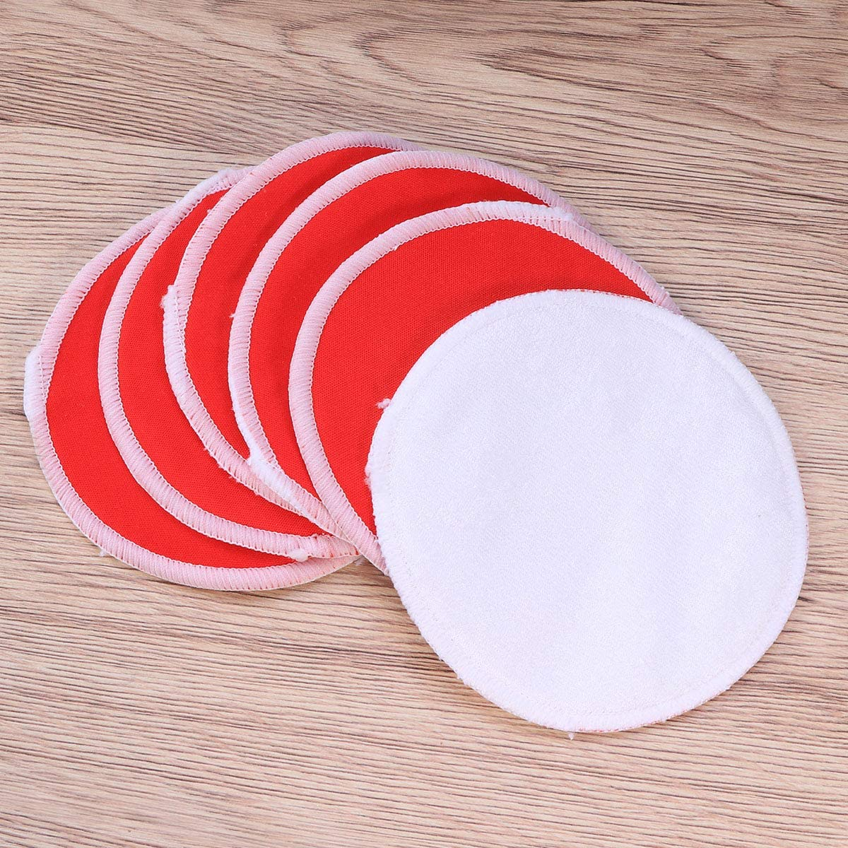 Beaupretty 6PCS Bamboo Nursing Pads Reusable Washable Breastfeeding Pads Ultra Absorbent Bra Inserts Red