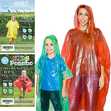 Children Women Teens Rain Poncho Family Pack Disposable Emergency Ponchos Men