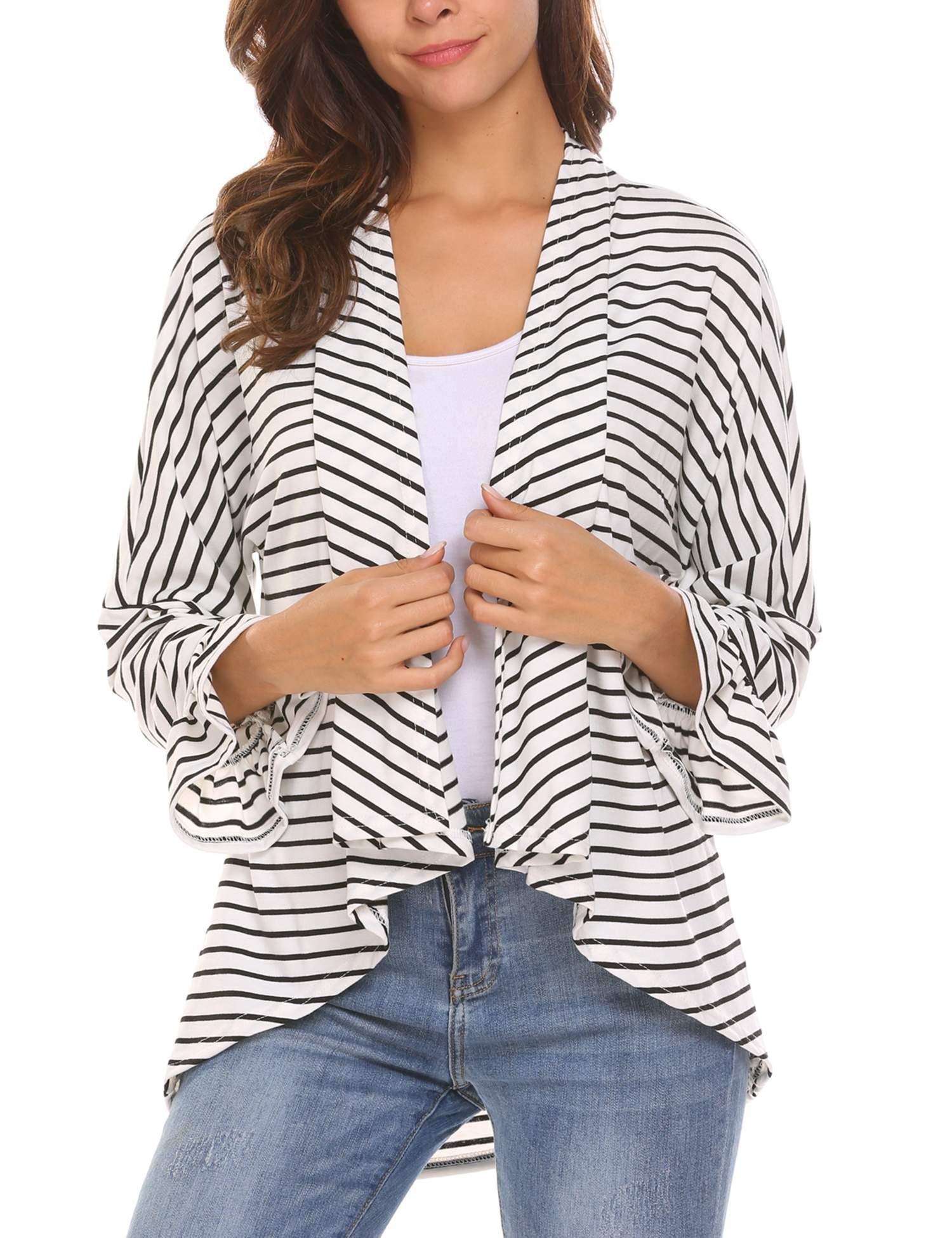 Soteer Women's Stripe Long Sleeve Draped Open Front Cardigan Sweater Black XL