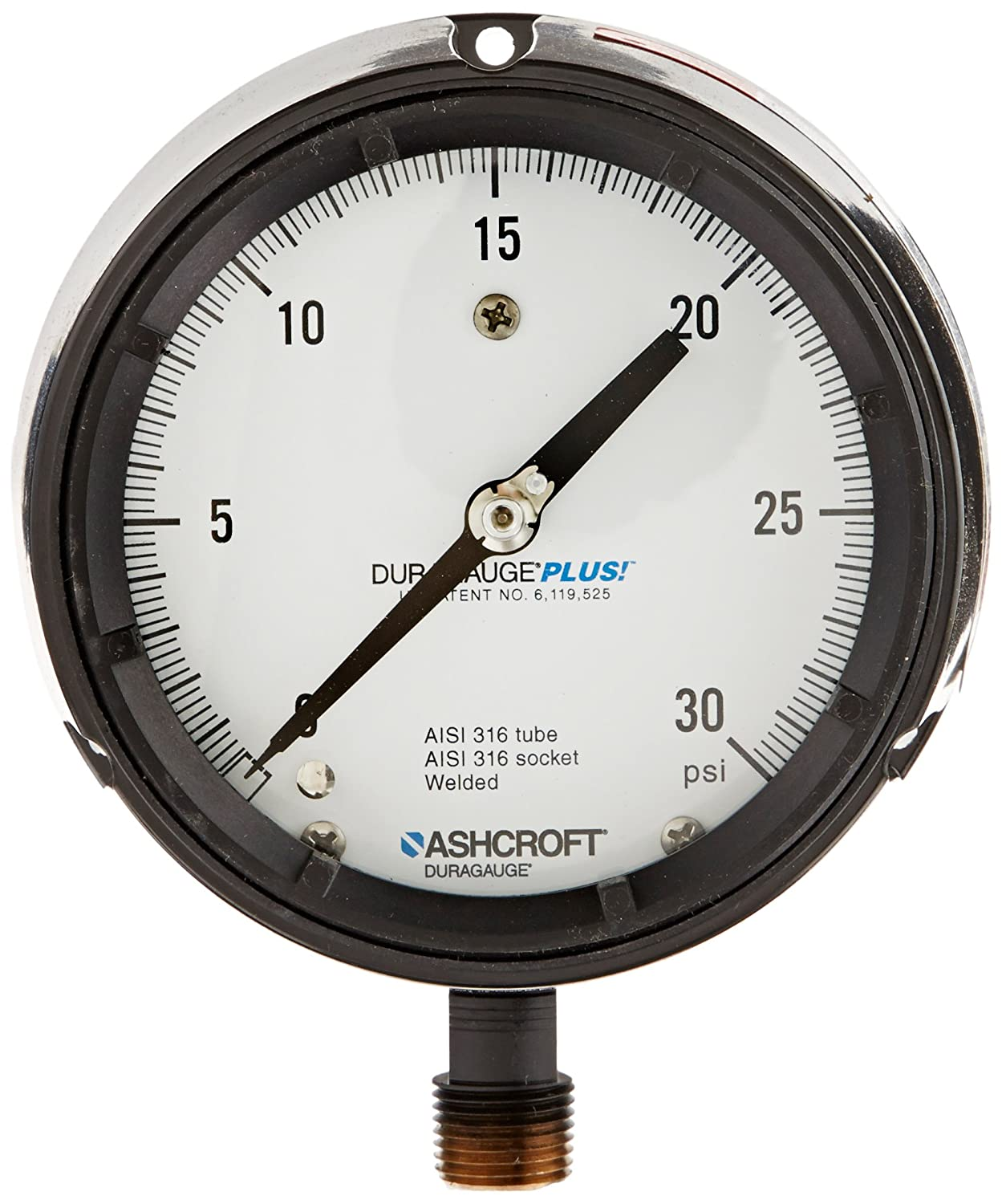 Ashcroft Type 1008 304 Stainless Steel Case Pressure Gauge 100//100 KPA Pressure Range 1//4 NPT Lower Connection Ashcroft Inc 1//4 NPT Lower Connection 631008S02L1100KP 316 Stainless Steel Socket 63mm Dial Size 316 Stainless Steel Bourdon Tube