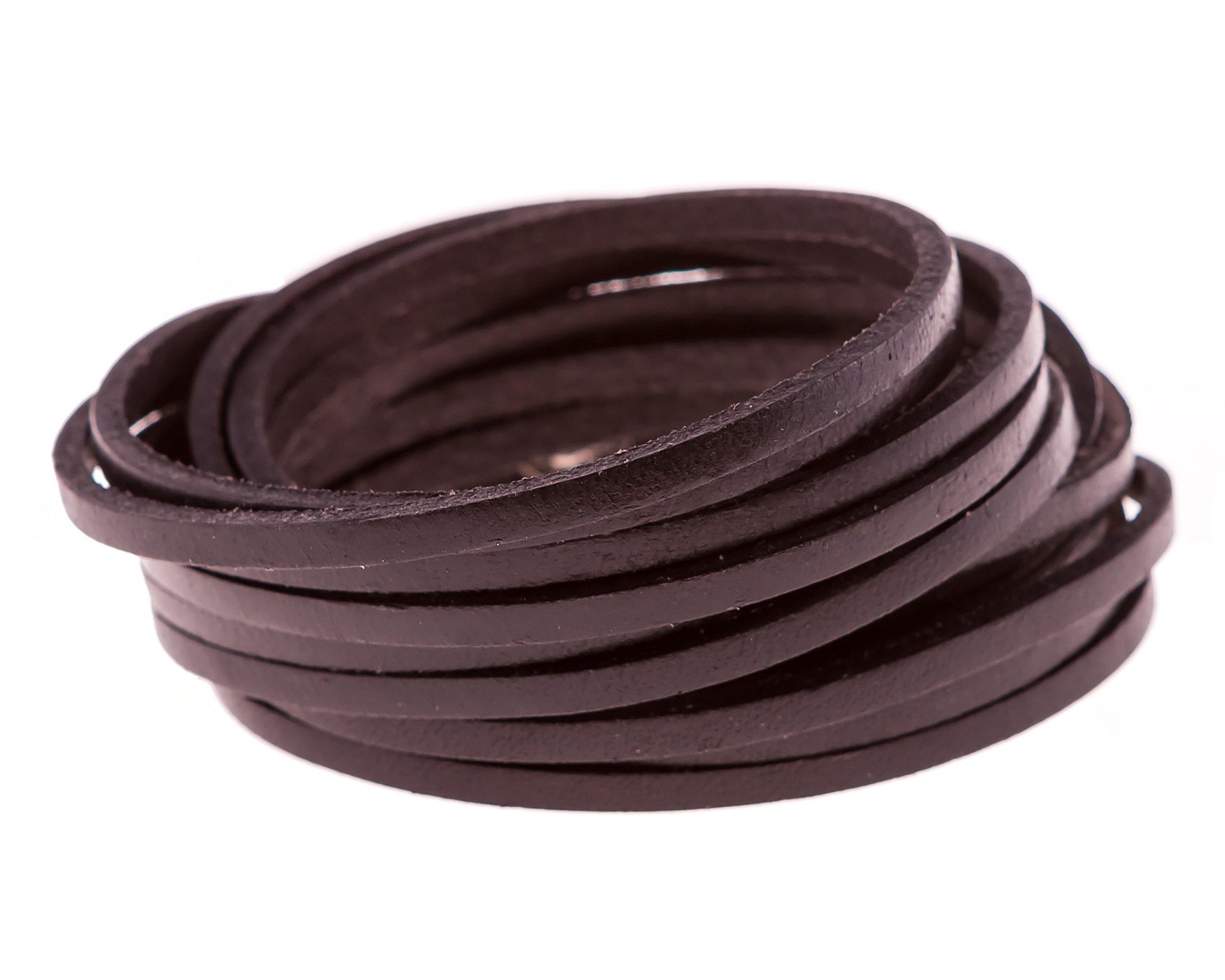 True Heart Style Genuine Leather Wrap Multi-strand 6 Strand Bangle Cuff Bracelet Classic Black