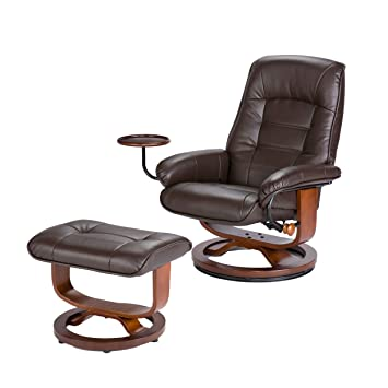 Swivel Recliner Chair Ottoman Set Is Made Of Brown Leather. Comes With  Glide Functionality Attached