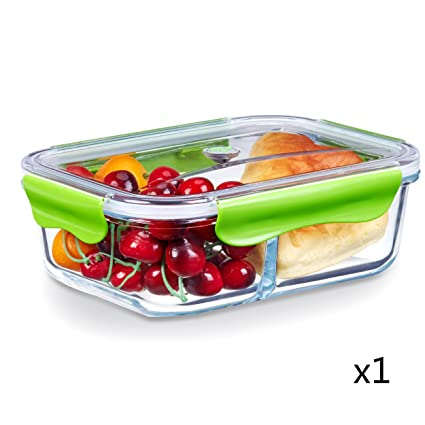 [ LARGE PREMIUM ] Glass Meal Prep Containers 2 Compartment Food Storage Container with Airtight  sc 1 st  Amazon.com & Amazon.com: [ LARGE PREMIUM ] Glass Meal Prep Containers 2 ...